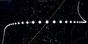 Parcours comète 46P/Wirtanen